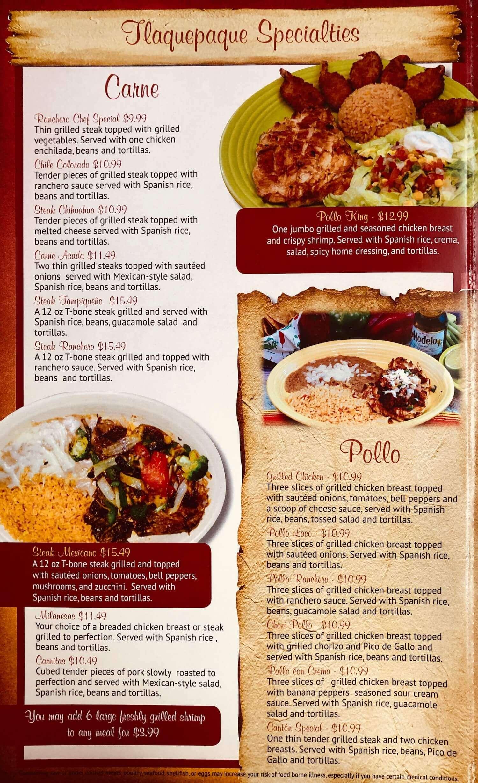 Tlaquepaque Mexican Restaurant St Clairsville Menu