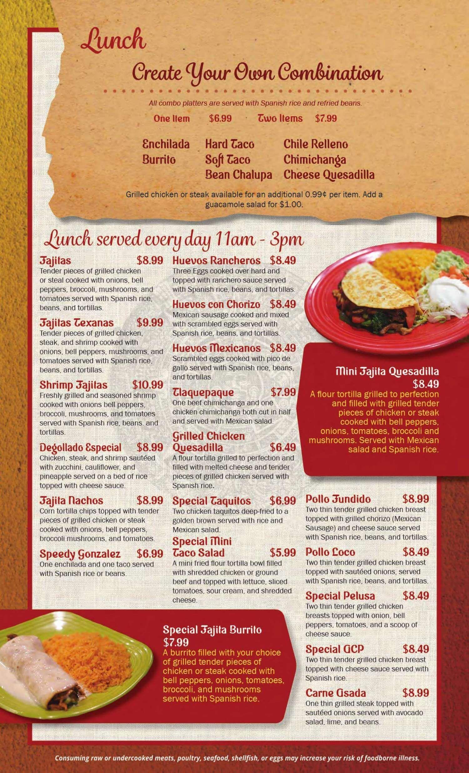 Tlaquepaque Mexican Restaurant Menu Canton Ohio